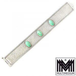 Modernist 70er Silber Armband Türkis Flechtornamentik silver bracelet turquoise