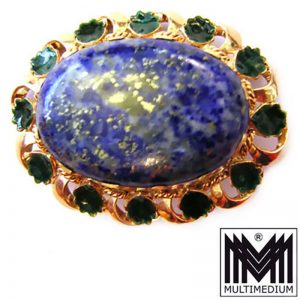Exclusive prachtvolle 14ct Gold Brosche Lapis Lazuli Emaille Traumstück Top rar
