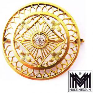 Antike Jugendstil Brosche Gold 14ct Diamant filigran diamond brooch 585 um 1900