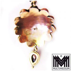 Rot Gold Anhänger mit Granat Perlchen 375 9ct gold pendant garnet pearl