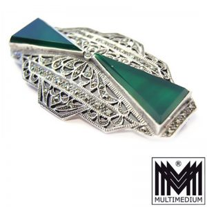 Silber Brosche Art Deco Stil grüner Achat Markasit silver brooch agate marcasite