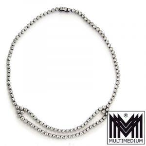 Art Deco Halskette Silber große Strass steine paste silver pendant collier