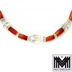 seltene Art Deco 30er Jahre Halskette Karneol Berg kristall carnelian necklace