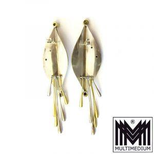 Große Modernist Designer Ohrringe Silber Art Deco Stil vergoldet 4 Cabochons