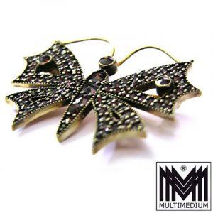 Silber Brosche Schmetterling Granat vergoldet Silver Brooch Garnet Butterfly