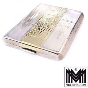 Art Deco Zigaretten Etui Silber vergoldet Widmung vtg silver cigarette case box