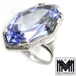 Großer Art Deco Silber Ring blauer Topas geschliffen 30er silver blue topaz