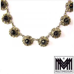 Jugendstil Silber Collier Granat 20er Jahre Hals Kette silver garnet necklace