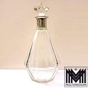 Art Deco Kristall Glas Karaffe geschliffen 800er Silber crystal glass cut silver