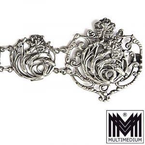 Jugendstil Gürtel m. Schließe u. 1900 EPNS Art Nouveau belt buckle silver plated