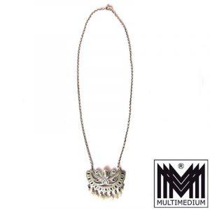 Jugendstil Silber Collier Heinrich Levinger Pforzheim Emaille silver necklace