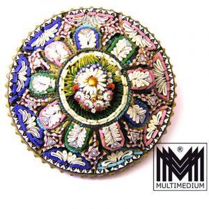 Prachtvolle Millefiori Brosche Mikromosaik um 1860 selten micro mosaic brooch