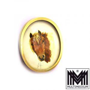 750 er Gold Brosche Anhänger Pferd horse pendant brooch Miniatur e Monogramm LG
