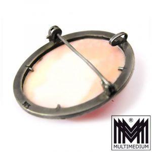 Jugendstil Silber Anhänger Muschel Kamee rosa Cameo silver brooch pendant