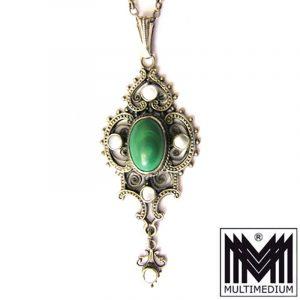 Jugendstil Anhänger Silber Malachit e 5 Perlschalen art nouveau silver pendant