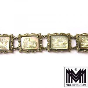 Jugendstil Armband Perlmutt Kamee Silber 1900 art nouveau silver bracelet Cameo