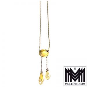 Jugendstil Lavaliere Collier Halskette Citrin Silber art nouveau silver necklace