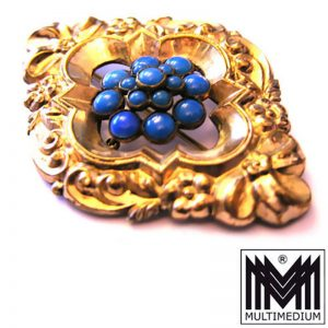 große prachtvolle Biedermeier Brosche um 1850 Silber vergoldet selten Traumstück