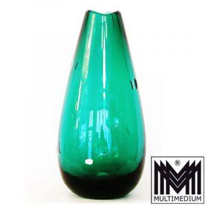 Vase Ph. Rosenthal signiert Keulenform Kugelschliff um1960 grünes Glas s signed