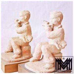 Art Deco Dornberg Keramik Figur Buchstützen Holz Sockel Quer Flöten Spieler Ton