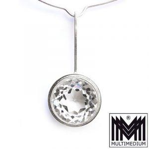 Modernist Designer Anhänger Silber Bergkristall Silver pendant mit Halsreif
