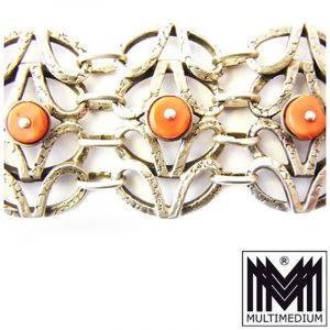 massives Art Deco Armband Silber Koralle signiert