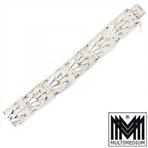 ART DECO Armband Silber signiert stilisierte Blumen selten silver bracelet