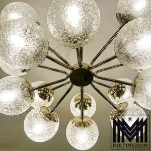 Sputnik Space Age Deckenlampe verchromt Glas Kugeln 70er Jahre Lampe