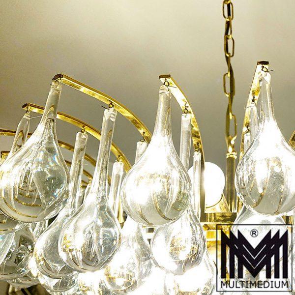 Christoph Palme Deckenlampe vergoldet Lampe Glas Tropfen 70er Jahre Lamp