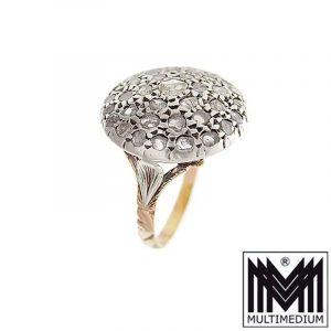 Prachtvoller großer Biedermeier Ring Silber - 585 Gold Diamant Fingerring