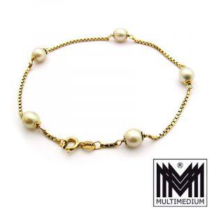750 er Gold Perlen Armband Arm kette 18k 18ct pearl gold bracelet