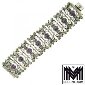 Rafael Dominguez Sterling Silber Armband Mexiko 60s silver bracelet signed Mexico Amethyst Türkis