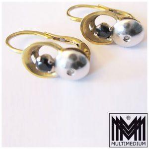 Art Deco Ohrringe 18 ct 750er Gelbgold und Weißgold mit kl. Diamant und Safir