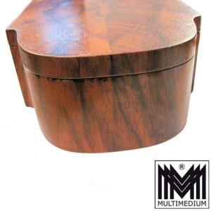 Antike Holz Schatulle für Schmuck Rosenkranz Spiegel Deckel wood case