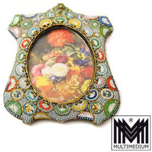 Antiker Mikromosaik Rahmen um 1900 Millefiori micro mosaic frame
