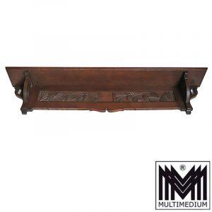 Antike Jugendstil Holz Konsole Eiche dunkelbraun Regal Ablage Board