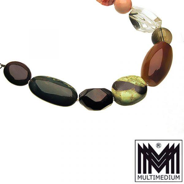 Philippe Ferrandis Steinkette Silber Modernist Halskette necklace