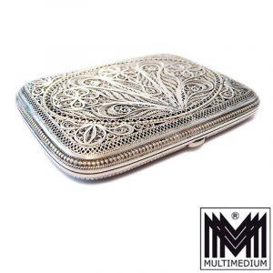 Silber Draht Zigaretten Etui Dose filigran silver cigarette case box