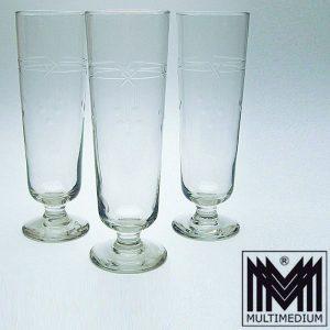 3 antike Jugendstil Weizen Bier Gläser geschliffen antique beer glass