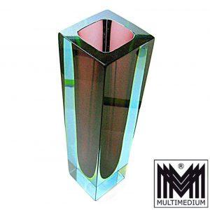 Große Sommerso Murano Glas Block Vase lila Uranglas Überfang blau um 1950