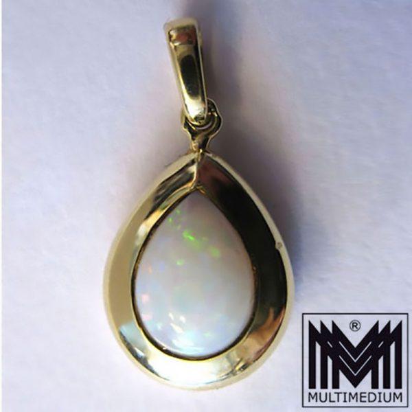 Gold Anhänger mit Opal gefasst gestempelt 585 gold pendant