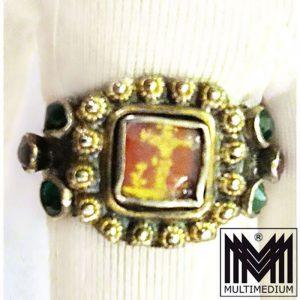Barock Silber Bauern Ring vergoldet Glas steine Gold malerei Kreuz cross 1750