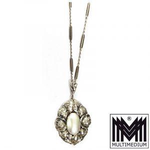 Jugendstil Silber Anhänger mit Perlmutt art nouveau silver pendant mother pearl