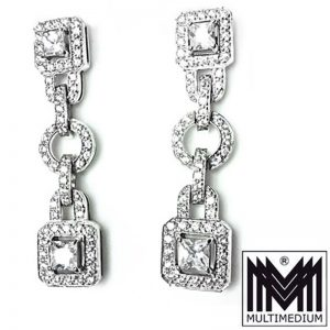 Prachtvolle Silber Ohrringe im Art Deco Stil Zirkonia silver earrings