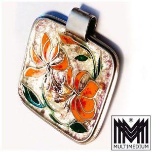 Silber Anhänger Emaille Cloisonné 60er silver translucid enamel pendant 60s