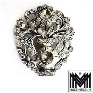 Alte antike Silber Brosche um 1900 Blumen Strass silver brooch paste victorian