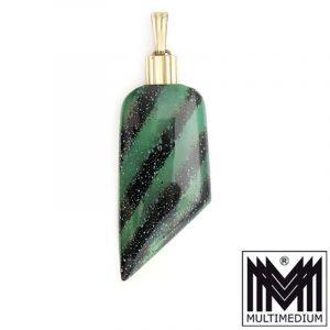 Art Deco Pracht Anhänger WMF Ikora Glas Schmuck grün marmoriert pendant myra