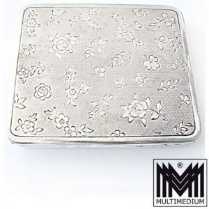 Jugendstil Puderdose Silber Spiegel Blumen art nouveau silver powder compact box