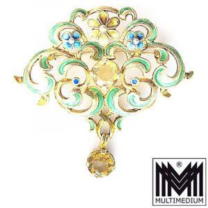 Silber Brosche im Jugendstil verg. Citrin Emaille gorgeous silver enamel brooch