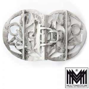 Jugendstil Gürtel Schließe um 1900 Silber 800 Mond Krone belt buckle silver
